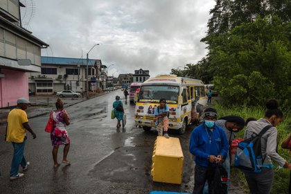 A bus stop that connects communities around the Suriname River to central Paramaribo, the capital, on Dec. 18, 2020. SurinameÕs emergence as a potential oil-producing star could help a new government trying to remake the country. (Adriana Loureiro Fernandez/The New York Times)