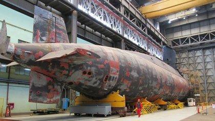 El submarino Santa Cruz, gemelo del San Juan, actualmente en reparaciones