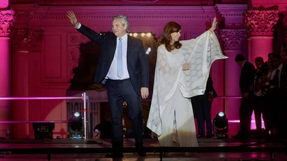Alberto Fernández and Cristina Fernández de Kirchner during the inauguration of the President.  (Gustavo Gavotti)
