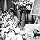 Mandatory Credit: Photo by Daily Mail/Shutterstock (1077860a) Maharishi Mahesh Yogi Indian Guru And Mystic Pictured In Bangor Wales With Beatles Paul Mccartney John Lennon Ringo Starr And George Harrison. Maharishi Mahesh Yogi Indian Guru And Mystic Pictured In Bangor Wales With Beatles Paul Mccartney John Lennon Ringo Starr And George Harrison.