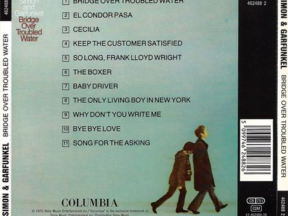 "En formato CD, la contratapa del disco ""Bridge Over Troubled Water"" de Simon & Garfunkel"