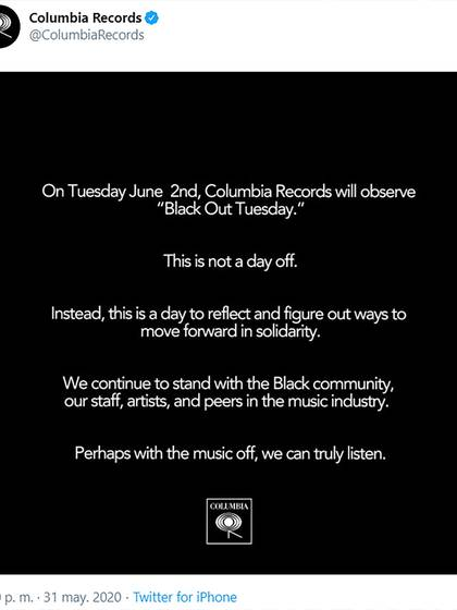 The message from Columbia Records