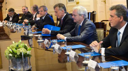 Mauricio Macri junto a su Gabinete (Prensa Presidencia)