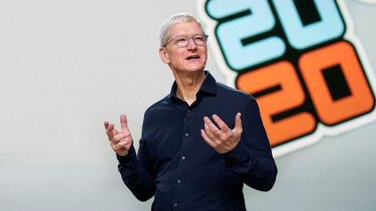 Tim Cook, CEO de Apple, Tim Cook, durante la Conferencia Mundial de Desarrolladores de Apple 2020 (WWDC) en el Teatro Steve Jobs en Cupertino, California, EE.UU., 22 de junio de 2020. (EFE/EPA/BROOKS KRAFT / APPLE)