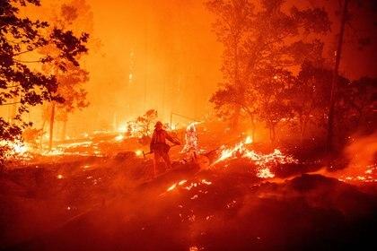Un bombero trabaja para intentar sofocar el incendio mientras las llamas se dirigen hacia las casas en el área de Cascadel Woods de la zona no incorporada del condado de Madera, California, el 7 de septiembre de 2020 (Foto de JOSH EDELSON / AFP)