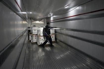 Las dosis son cargadas en camiones refrigerados y llevadas directamente a los aviones que las transportarán por todo el país.