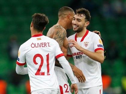 Munir El Haddadi celebra el gol del triunfo del Sevilla ante FC Krasnodar. REUTERS/Maxim Shemetov
