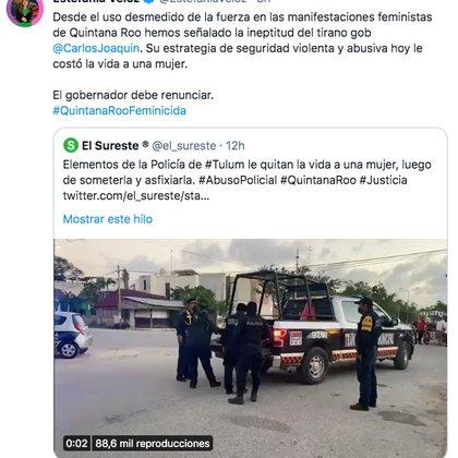 Estefanía Veloz acusó que la estrategia de seguridad violenta y abusiva de Carlos Joaquín en Quintana Roo hoy le costó la vida a una mujer (Foto: captura de pantalla / Twitter@EstefaniaVeloz)