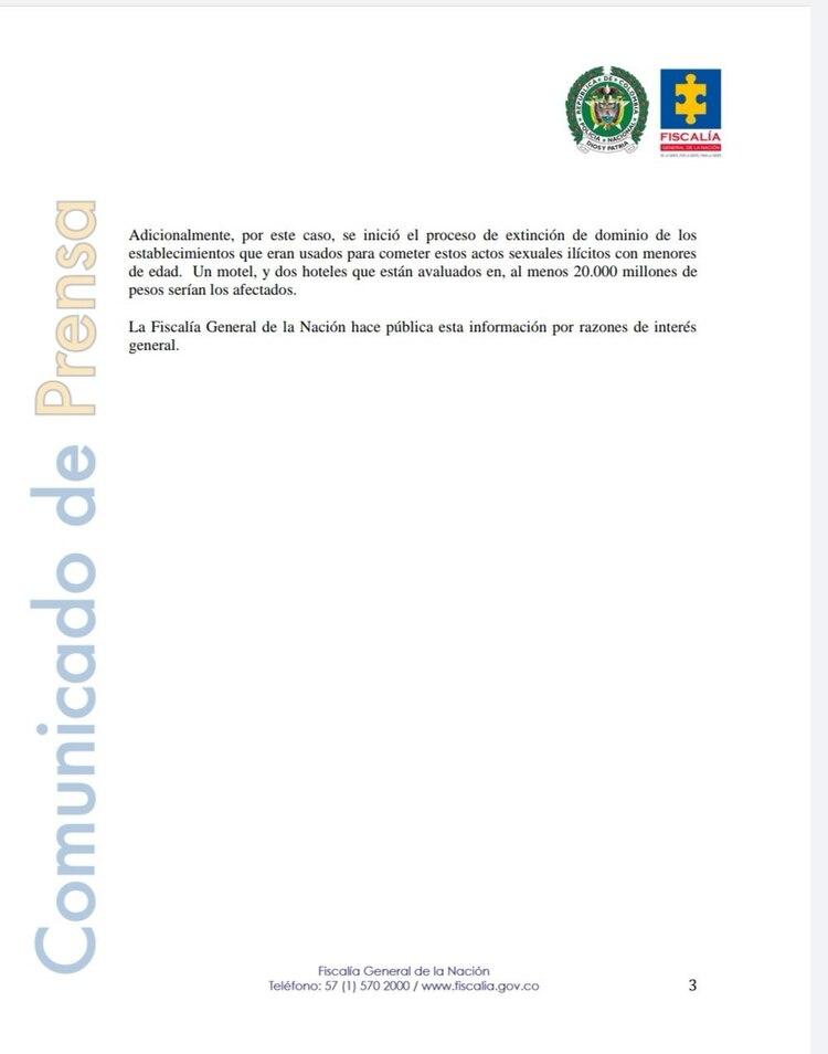 El texto de la Fiscalía colombiana especifica los delitos cometidos por el grupo criminal