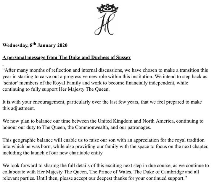 El comunicado de Meghan Markle y el príncipe Harry