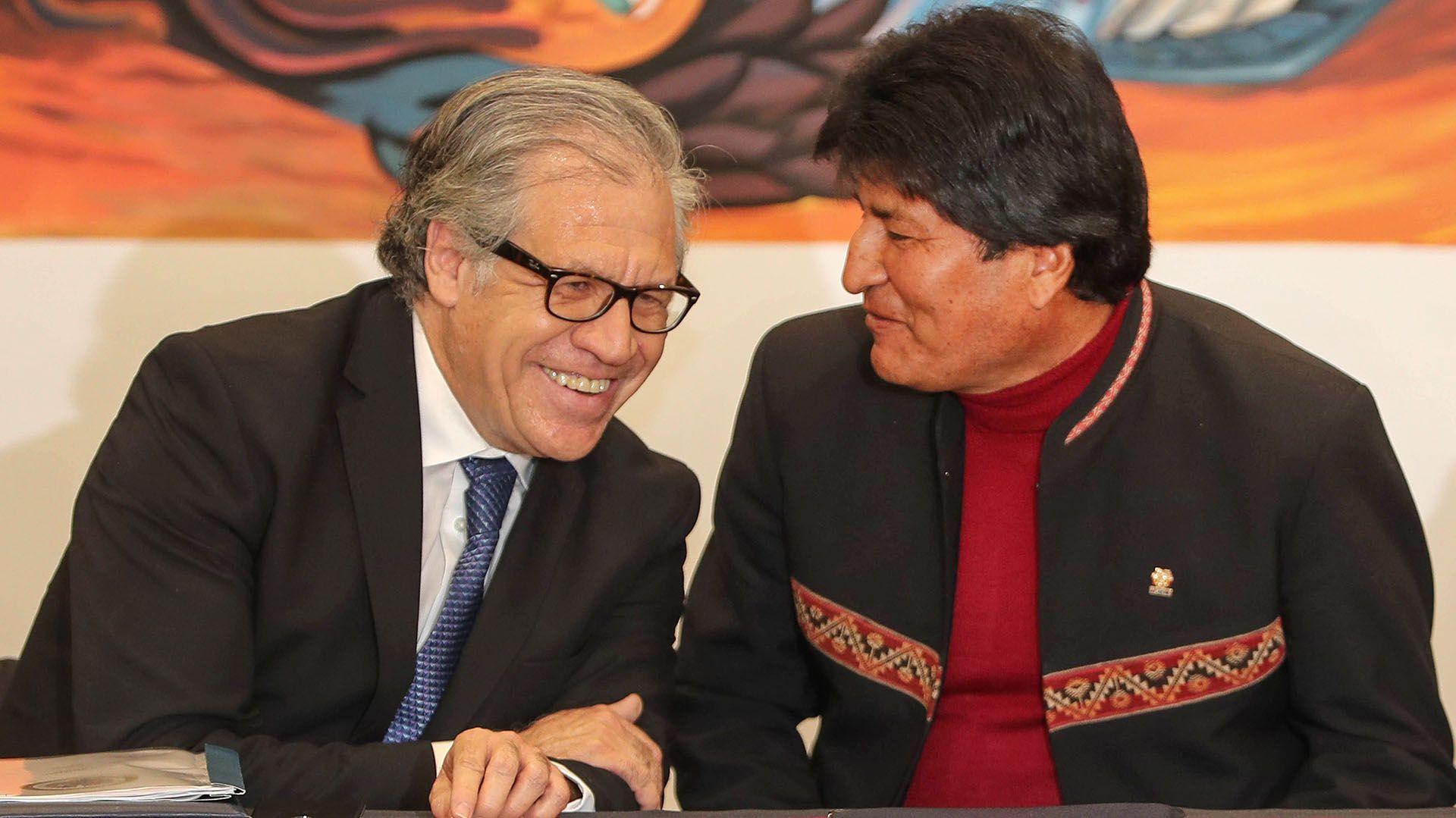 El secretario general de la Organización de Estados Americanos (OEA), Luis Almagro, conversando con el presidente de Bolivia, Evo Morales, durante la firma de un acuerdo el 17 de mayo de 2019 en La Paz (EFE)