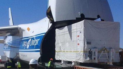 El satélite Saocom 1B viajó en febrero a Estados Unidos en el avión Antonov AN 124 desde el aeropuerto de San Carlos de Bariloche