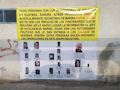 Una narcomanta del Cártel de Caborca a los Salazar (Foto: Especial)
