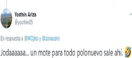Reacciones vía Twitter al súper ñame de Polonuevo Cortesía Twitter @yosthin05
