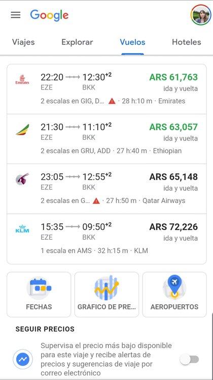 En Google Vuelos pueden ver vuelos y hospedajes.