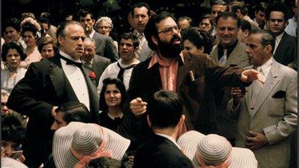 Marlo Brando y Francis Ford Coppola, durante la filmación