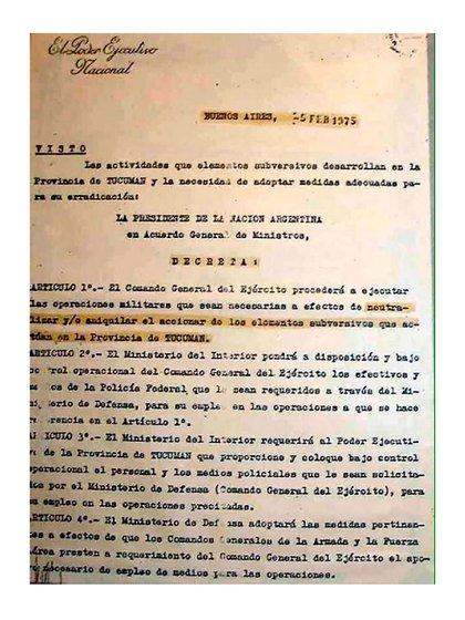 """Copia del Decreto que ordena el """"Operativo Independencia"""" en Tucumán"""