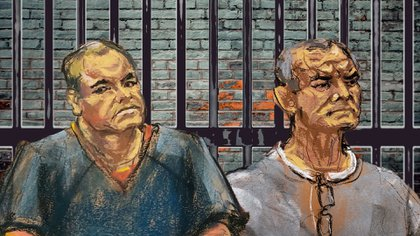 """Genaro García Luna fue relacionado con el Cártel de Sinaloa durante el juicio de  Joaquín """"El Chapo"""" Guzmán (Fotoarte: Steve Allen/Infobae)"""