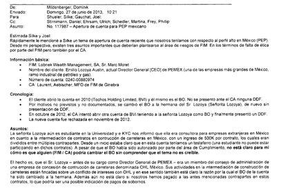 La alerta que emitió el banco UBS sobre las cuentas de Lozoya. (Foto: Mexicanos contra la Corrupción y la Impunidad)