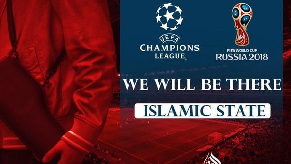 """""""Estaremos allí"""", junto a logos de la Champions League y del Mundial de Fútbol de Rusia 2018"""