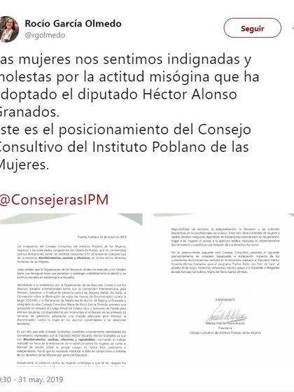 El comentario del Alonso Granados fue condenado en redes sociales por usuarios, organismos no gubernamentales y otros políticos (Foto: Captura de pantalla)