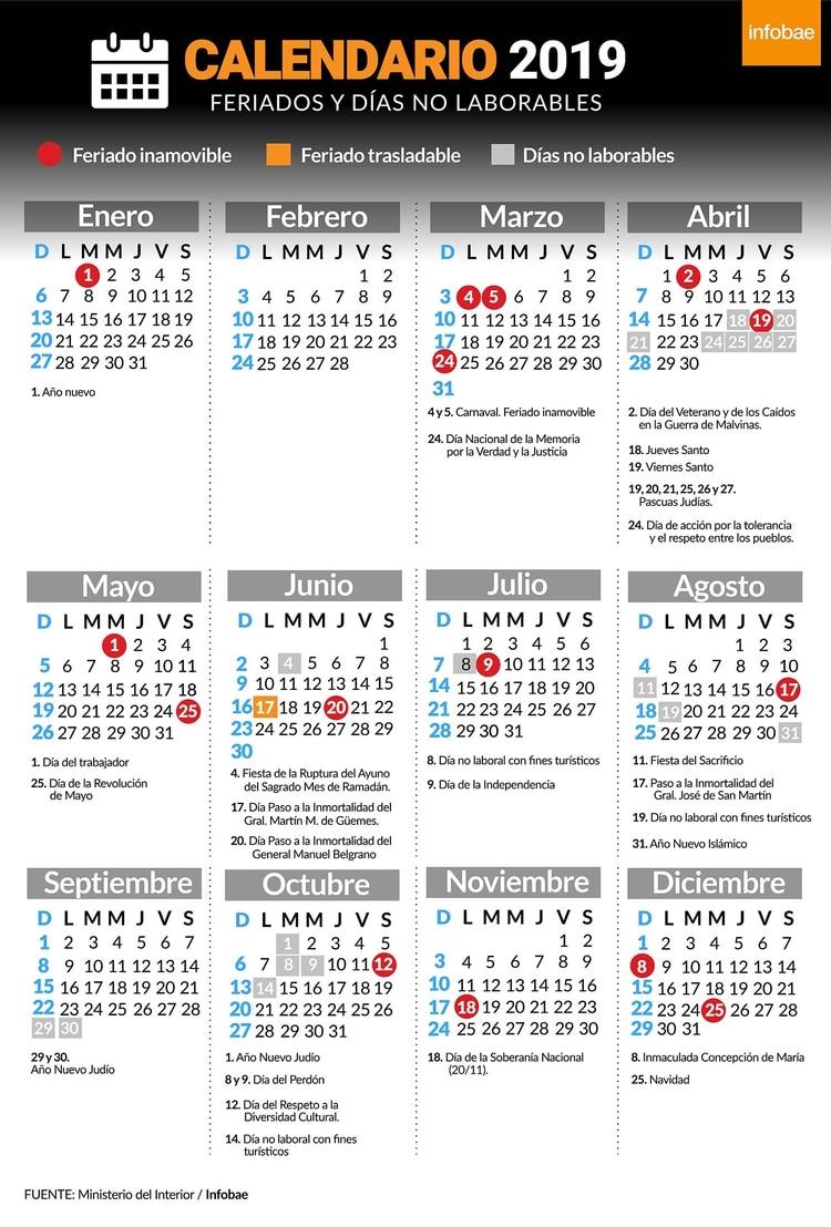 Calendario Marzo 2020 Argentina Para Imprimir.Feriados 2019 Calendario De Dias No Laborables Infobae