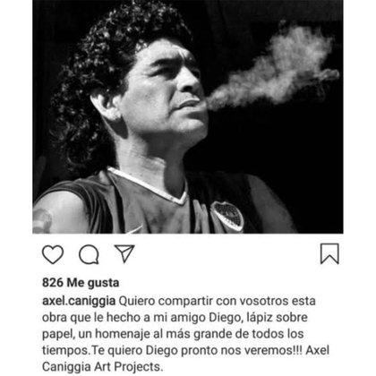 Axel Cannigia homenajeó a Diego Maradona (Foto: Instagram)