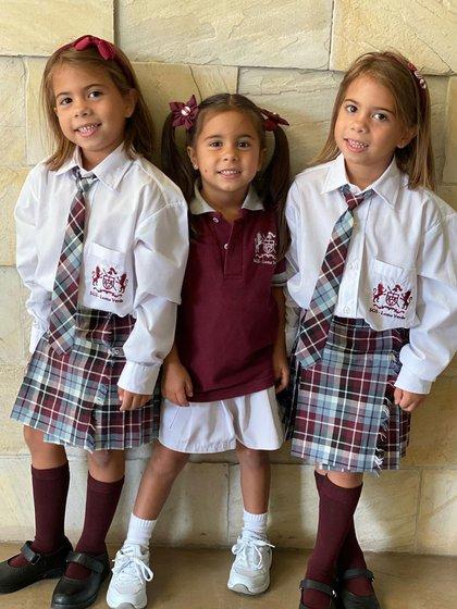 Las hijas de Cinthia Fernández comenzaron sala de 5 y primer grado de la escuela primaria (Instagrama)