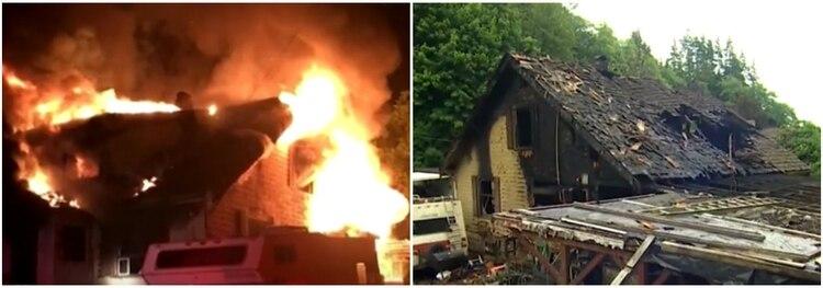 La casa fue pérdida total, el incendio comenzó a las 4 de la madrugada Foto: Impresión de pantalla CNN