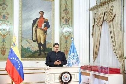 Imagen de archivo de Nicolás Maduro hablando de manera remota durante la Asamblea General 75 de Naciones Unidas desde el Palacio de Miraflores en Caracas el 23 de septiembre de 2020 (REUTERS)