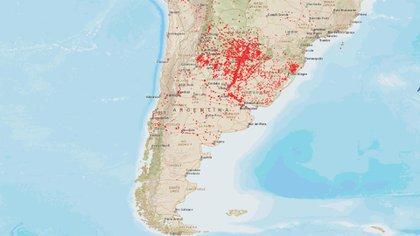 El mapa satelital de la NASA que muestras casi en tiempo real los focos de incendios activos en Sudamérica