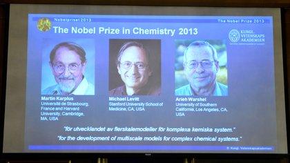 Michael Levitt compartió el Premio Nobel de Química con Martin Karplus, de la Universidad de Harvard, y Arieh Warshel, de la Universidad del Sur de California, por su desarrollo de modelos multiescala para sistemas químicos complejos (AFP)