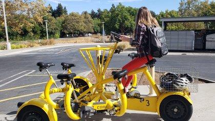 Las bicicletas grupales permiten tener reuniones itinerantes por el complejo.