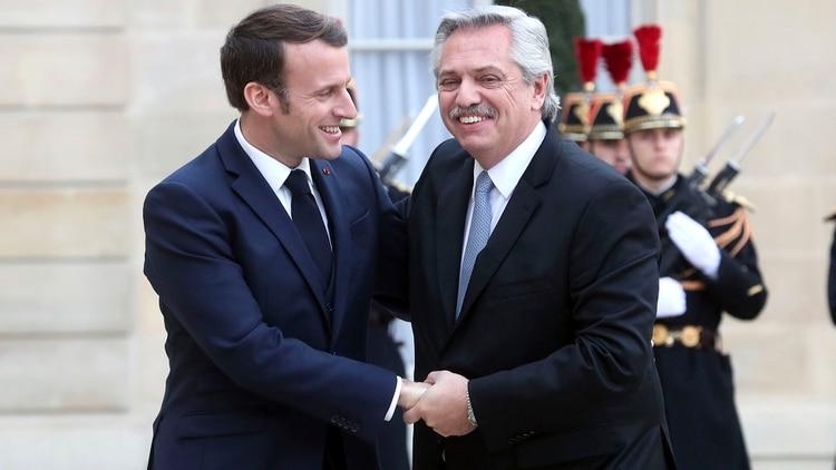 Emmanuel Macron, presidente francés, también recibió al mandatario argentino