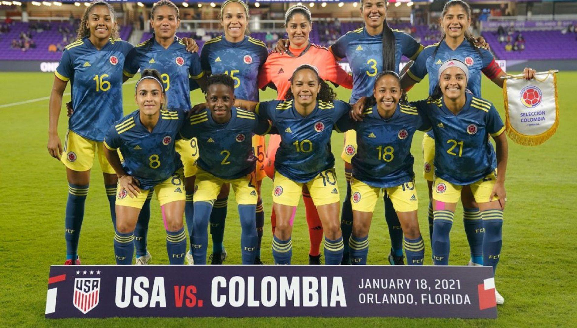 Alineación equipo Selección Colombia Femenina que enfrentó a Estados Unidos en Orlando, Florida, EU. Crédito Federación Colombiana de Fútbol