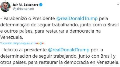 Tuit de Jair Bolsonaro