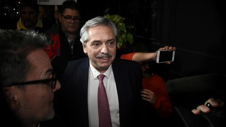 Alberto Fernández al llegar a la reunión con Massa (Nicolás Stulberg)