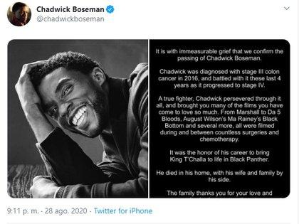 Falleció Chadwick Boseman, protagonista de Black Panther. E25GI5JA4BGJFNH3OOXZ4DF3EU
