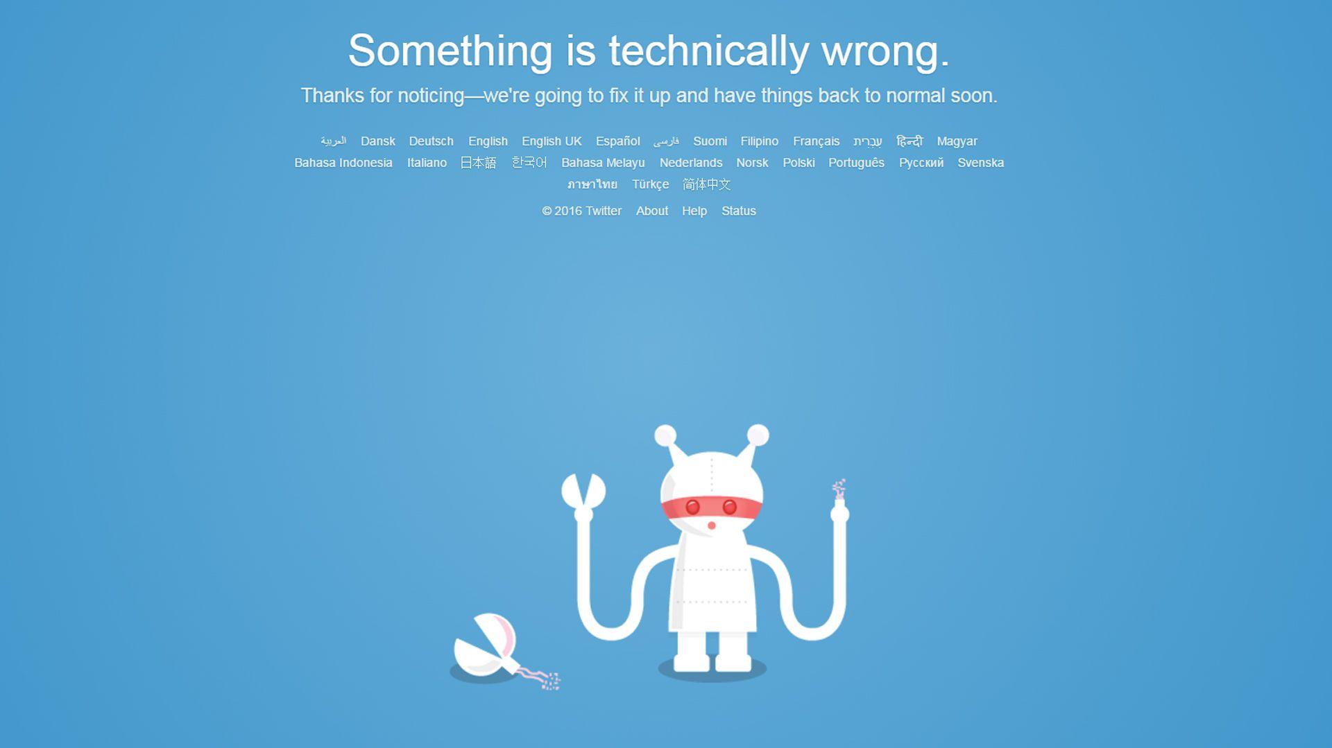 La imagen que ven muchos usuarios cuando intentan acceder (sin éxito) a Twitter  162
