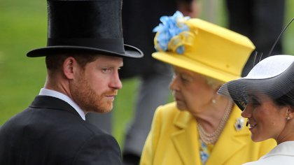 Mandatory Credit: Photo by Frank Sorge/Racing Fotos/Shutterstock (9721676x) Queen Elizabeth II behind Prince Harry and Meghan Duchess of Sussex Horse Racing - 19 Jun 2018