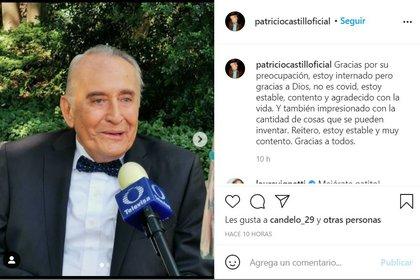 CAPTURA DE PANTALLA: Instagram/@patriciocastillooficial
