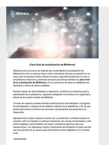 Mail enviado por Bitinka donde informa que finalizó la auditoria de las cuentas y que todos los usuarios iban a poder retirar su dinero