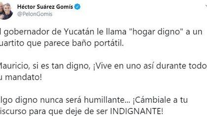 Screenshot: criticism of Héctor Suárez Gomís