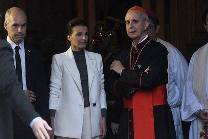 Horacio Rodríguez Larreta, su esposa, y el cardenal Mario Poli durante un Tedeum (imagen de archivo)