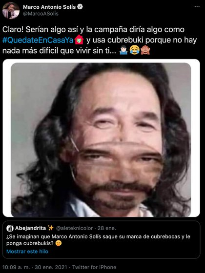 Marco Antonio Solís says with humor that he would like to launch his own line of masks (Photo: Twitter @ MarcoASolis)
