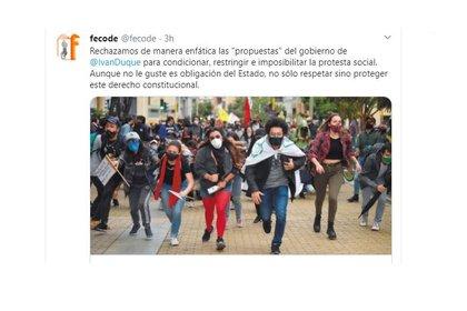 Captura trino de Fecode rechazando protocolos para las marchas propuestos por el Gobierno de Iván Duque. (@fecode)