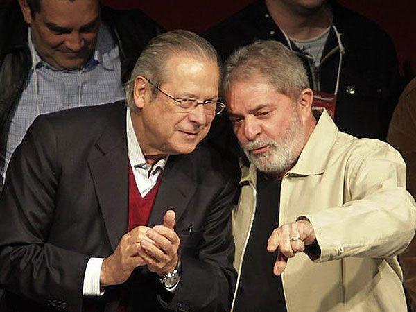 José Dirceu junto a Luiz Inácio Lula da Silva