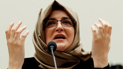 """FILE PHOTO: Hatice Cengiz, fiancee of murdered journalist Jamal Khashoggi, testifies before a House Foreign Affairs Subcommittee hearing on """"The Dangers of Reporting on Human Rights"""" on Capitol Hill in Washington U.S., May 16, 2019. REUTERS/Kevin Lamarque/File Photo"""