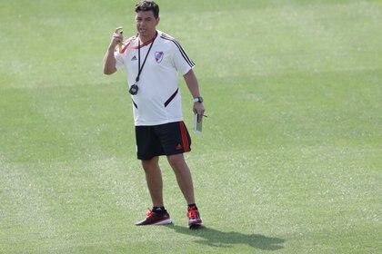 Gallardo, con el foco puesto en el clásico ante el Rojo (REUTERS/Guadalupe Pardo)