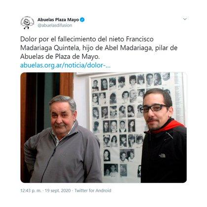 La noticia del fallecimiento de Francisco Madariaga Quintela se dio a conocer a través del Twitter de las Abuelas de Plaza de Mayo (@abuelasdifusion)